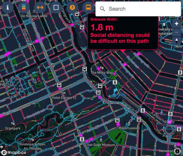 Amsterdam - una app. per la sicurezza da contagio lungo le strade.