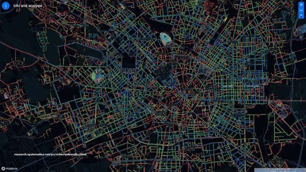 Mappa infrastruttura pedonale di Milano